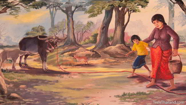 Buddhist temple mural painting of woman stepping over a rope securing a buffalo.