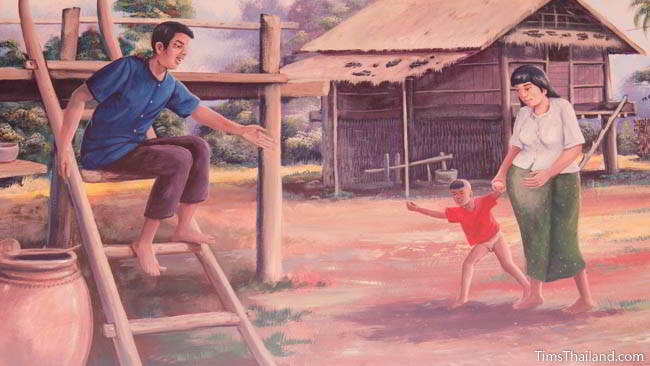 Buddhist temple mural painting of family outside their home.