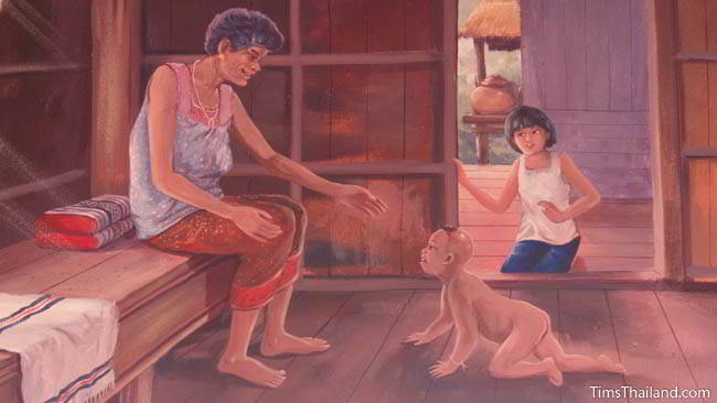 Buddhist temple mural painting of grandma and grandchildren.
