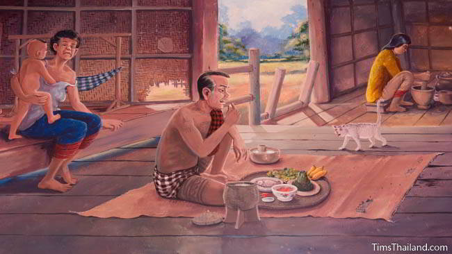 Buddhist temple mural painting of family eating at home.