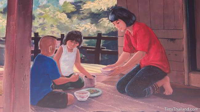 Buddhist temple mural painting of children eating.