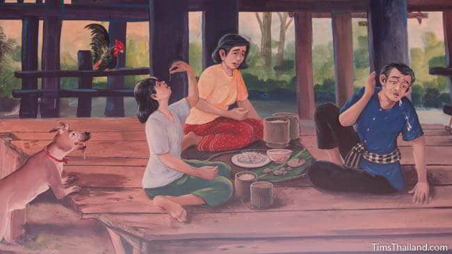 Buddhist temple mural painting of people eating.