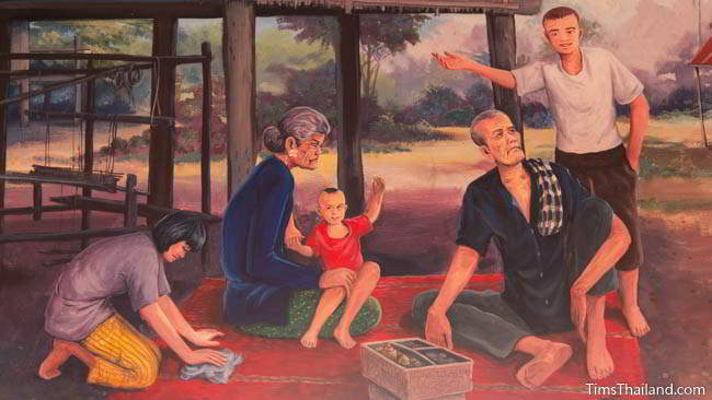 Buddhist temple mural painting of people relaxing next to their home.