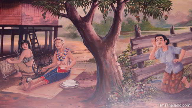 Buddhist temple mural painting of woman tying a mut mee silk pattern.