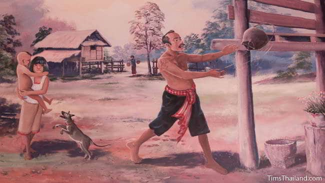 Buddhist temple mural painting of man throwing a basket on the floor of his house.