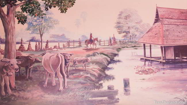 Buddhist temple mural painting of cows at a temple.