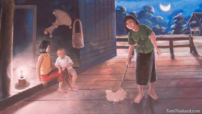 Buddhist temple mural painting of woman sweeping the floor.