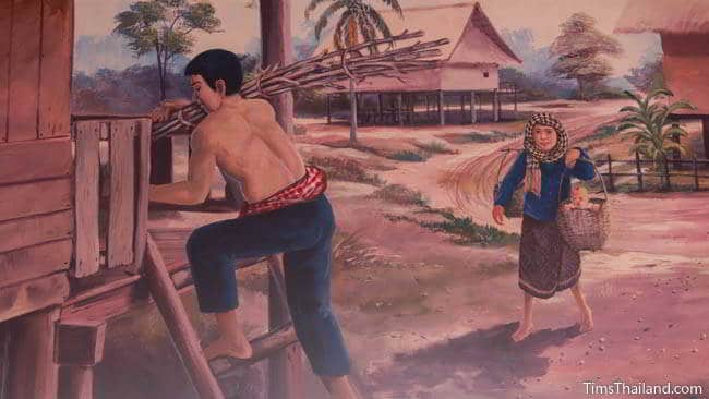 Buddhist temple mural painting of man carrying wood.