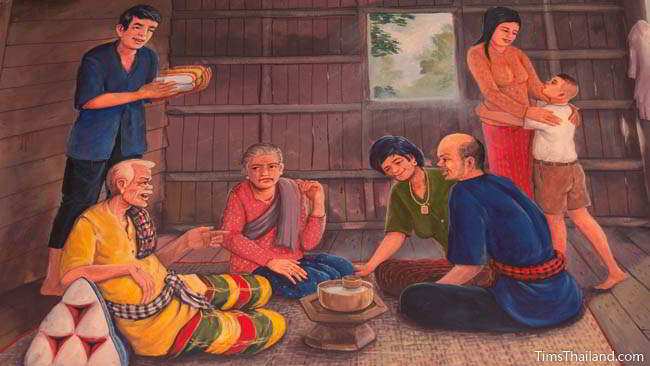 Buddhist temple mural painting of people in their home.