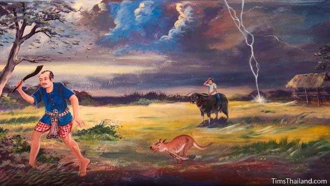 Buddhist temple mural painting of workers in a rice field and a lightning strike.
