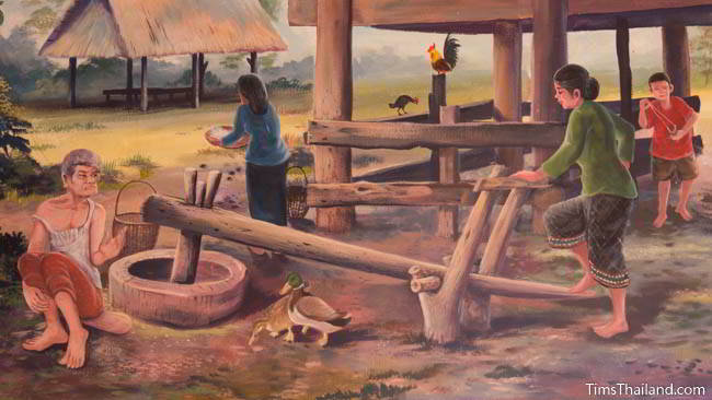 Buddhist temple mural painting of women working at home in a village.