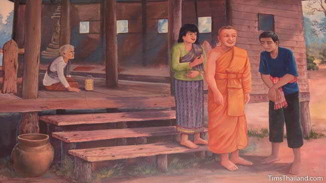 Buddhist temple mural painting of a monk at somebody's home.