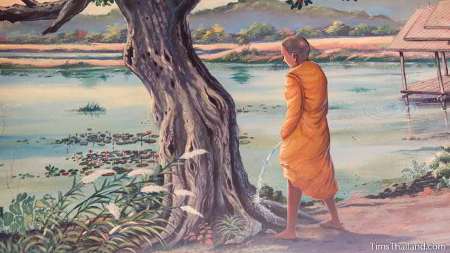 Buddhist temple mural painting of monk peeing on a tree.