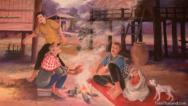 Buddhist temple mural painting of people sitting around a fire.