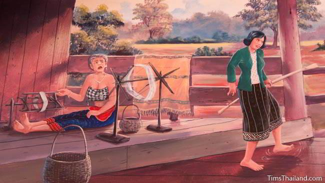 Buddhist temple mural painting of woman preparing silk thread.