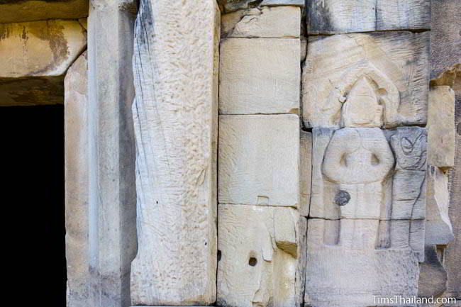 Unfinished carvings at Ban Phluang Khmer ruin in Thailand.