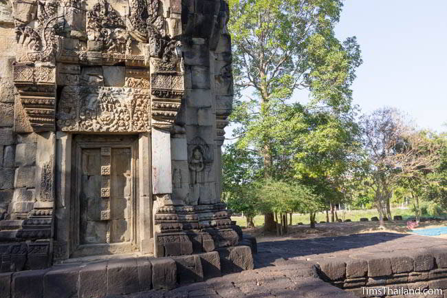 South face of tower at Ban Phluang Khmer ruin in Thailand.
