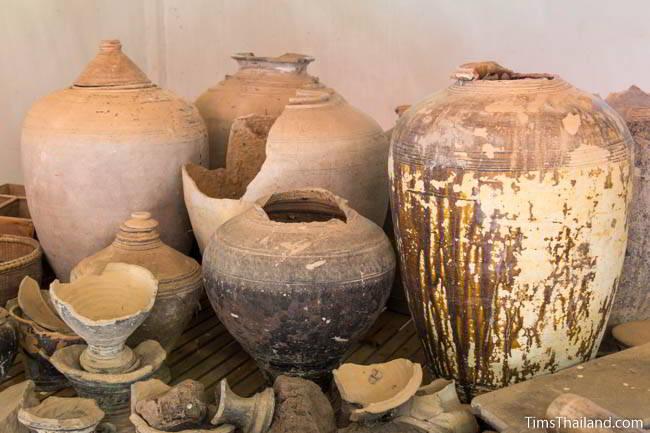 Khmer pottery at Wat Pa Phra Sabai museum in Buriram, Thailand.