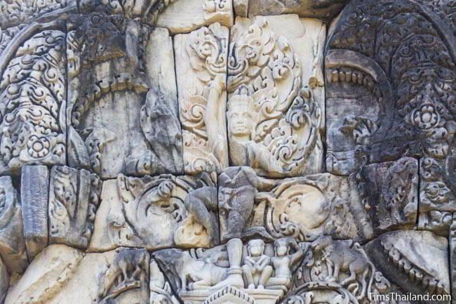 East pediment at Ban Phluang Khmer ruin in Thailand.