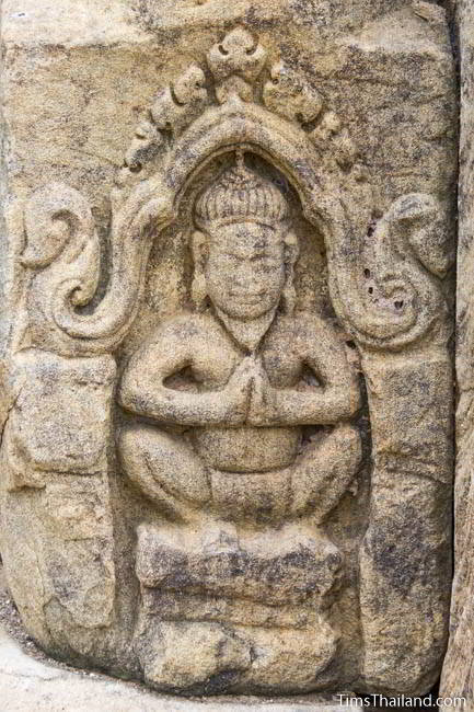 Ruesi carving at Ban Phluang Khmer ruin in Thailand.