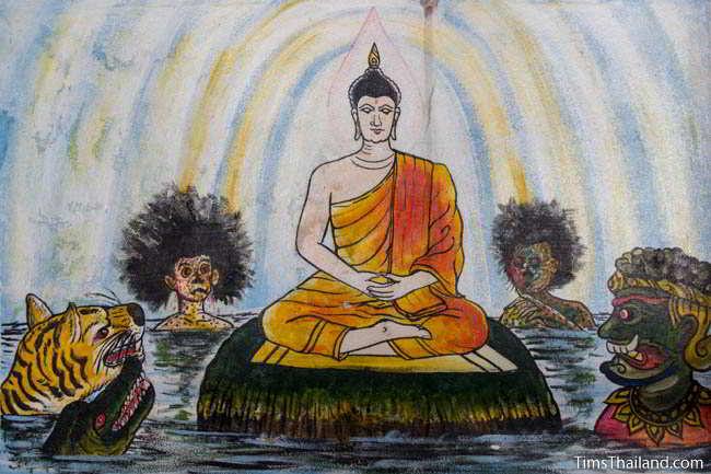 Painting at original Khon Kaen city pillar shrine of Buddha defeating the demon Mara before reaching enlightenment
