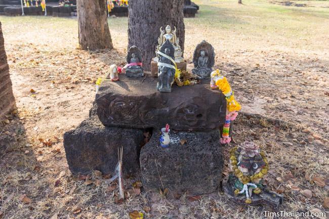shrine made of broken pilaster at Ku Ban Daeng Khmer ruin