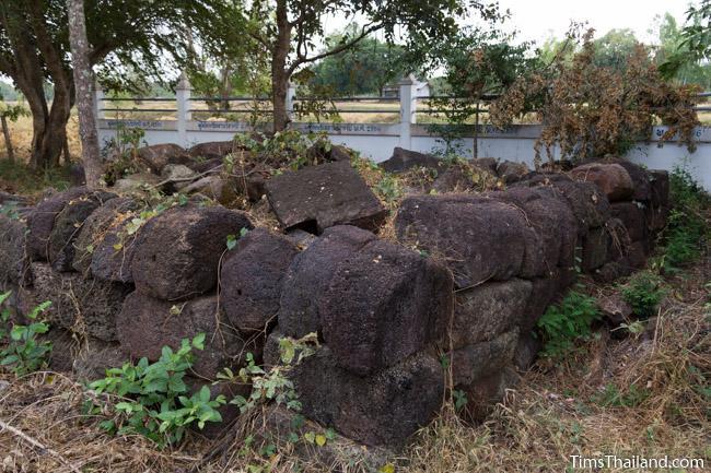 pile of unused blocks from restoration of Ku Buamat Khmer ruin