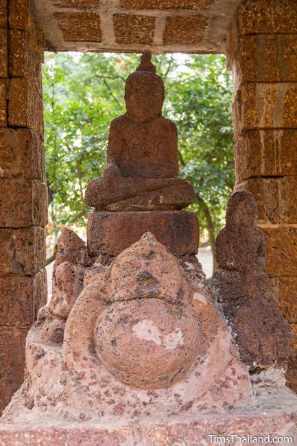 laterite carving of Rahu in shrine of Ku Mithila Khmer ruin