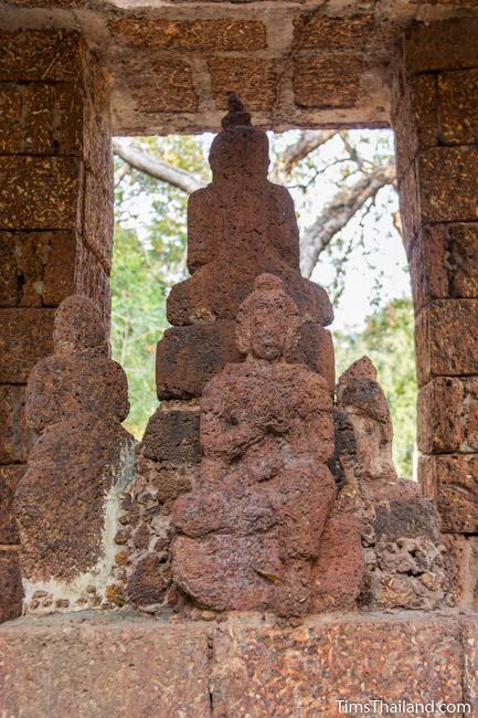 laterite carving of Brahma in shrine of Ku Mithila Khmer ruin