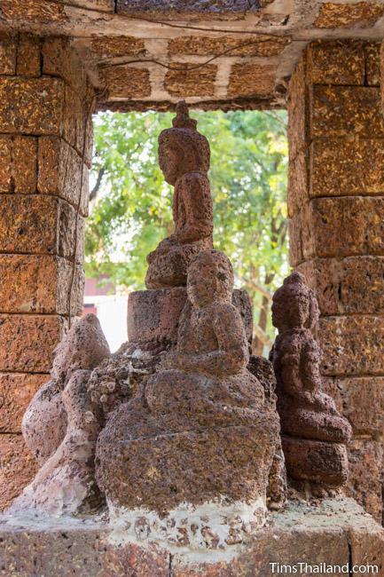 laterite carving of Mae Thoranee in shrine of Ku Mithila Khmer ruin