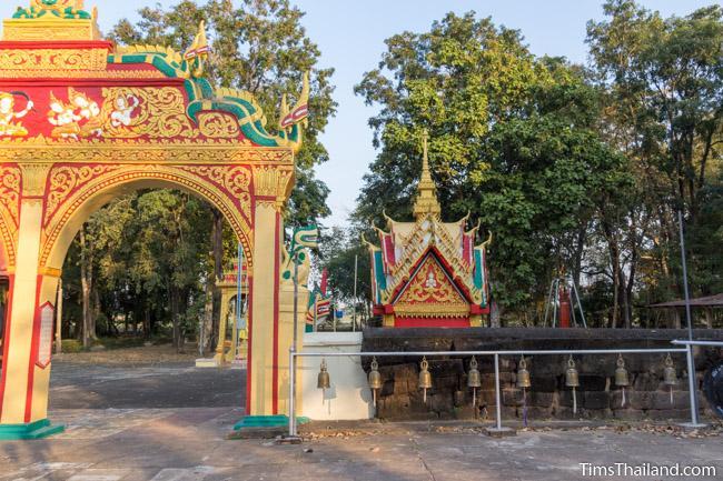 laterite enclosure joining modern gateway of Ku Sunthararam Khmer Ruin
