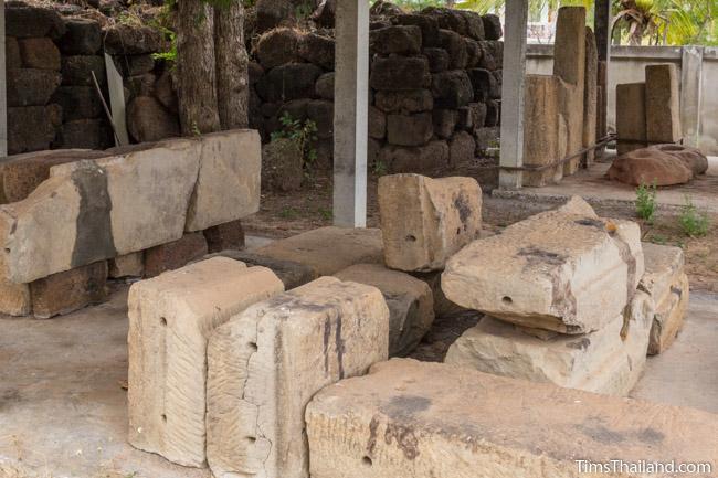 sandstone blocks in storage area at Ku Kaew Khmer ruin Khon Kaen