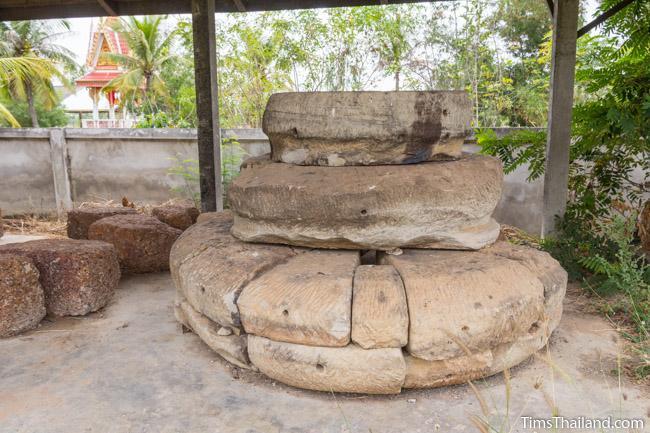 lotus bud top of tower in storage area at Ku Kaew Khmer ruin Khon Kaen