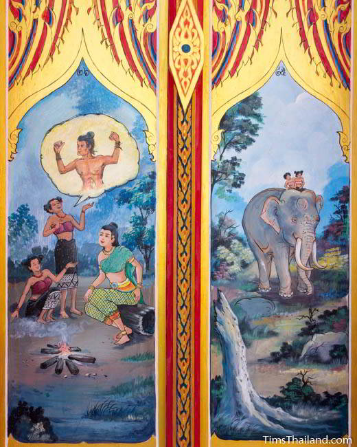 Nang Phom Hom story painted on doors at Wat Nong Wang