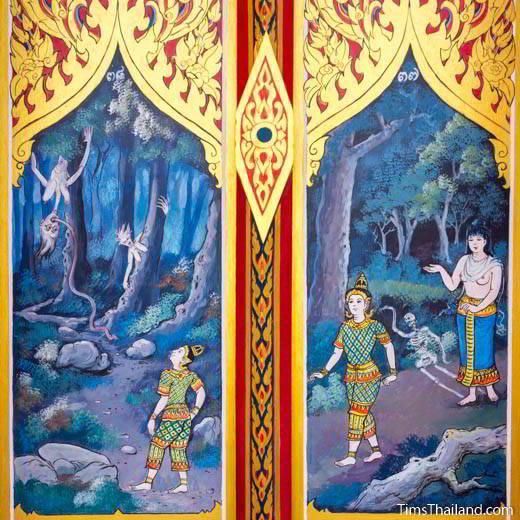 Nang Phom Hom story painted on window shutters at Wat Nong Wang
