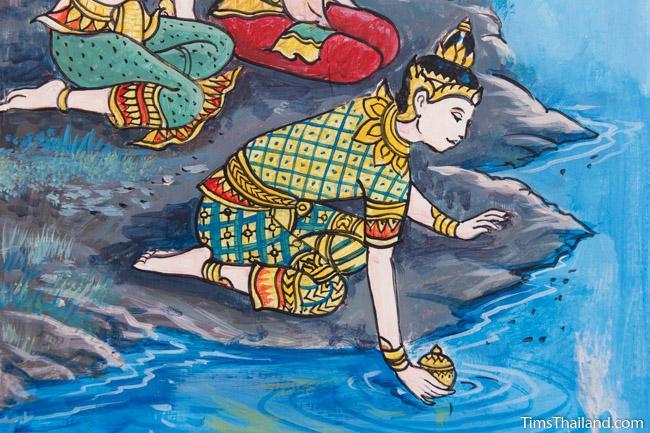 Nang Phom Hom story painting at Wat Nong Wang