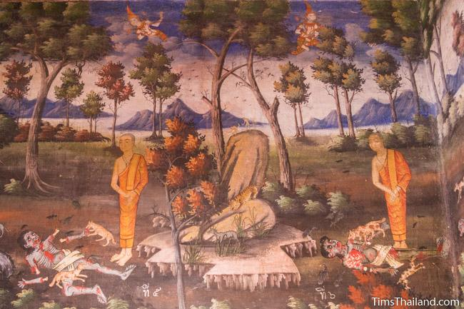 Wat Um Long corpse meditation mural