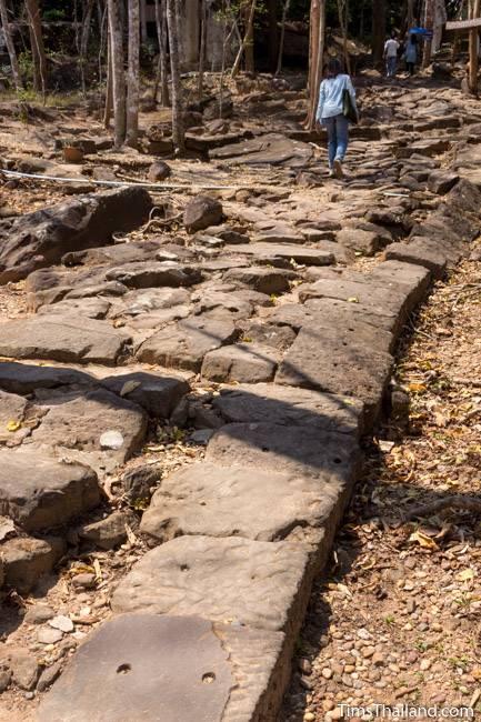 stone walkway below Phra That Phu Phek Khmer ruin