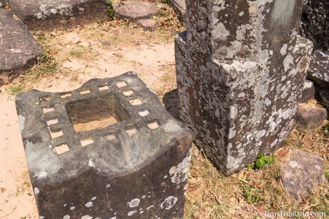 receptacle for auspicious items and shiva linga at Phra That Phu Phek Khmer ruin