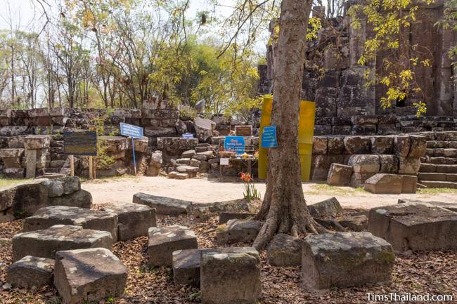 signs next to Phra That Phu Phek Khmer ruin
