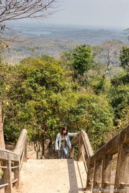 top end of stairway leading to Phra That Phu Phek Khmer ruin