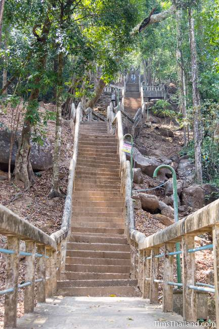 bottom end of stairway leading to Phra That Phu Phek Khmer ruin