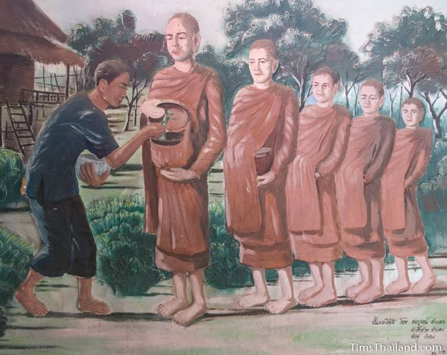 picture of monks collecting alms on Wat Pho Nontan meditation hall
