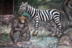 picture of zebra and chimp on Wat Pho Nontan meditation hall