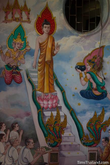 picture of Buddha descending from heaven on Wat Pho Nontan meditation hall