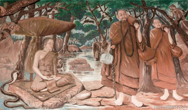picture of tudong monks on Wat Pho Nontan meditation hall