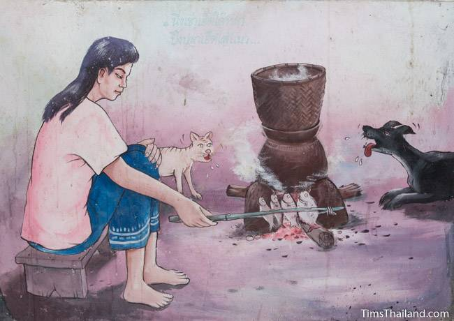 picture of woman cooking fish on Wat Pho Nontan meditation hall