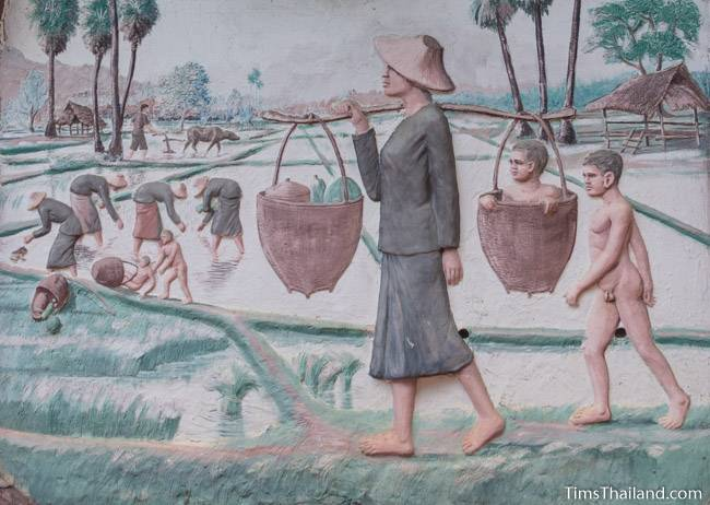 picture of harvesting rice on Wat Pho Nontan meditation hall