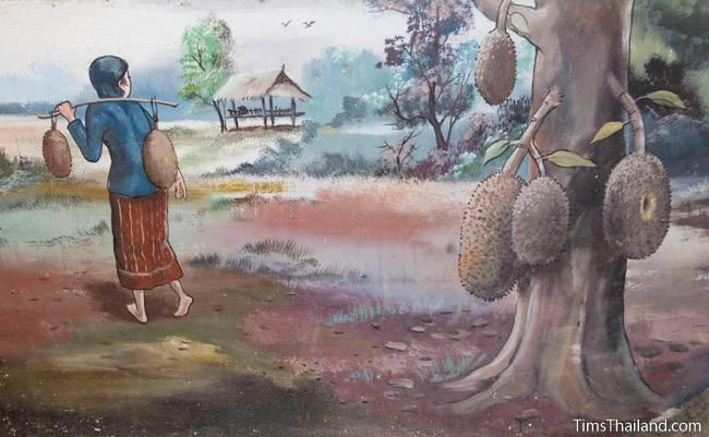 picture of jackfruit on tree on Wat Pho Nontan meditation hall