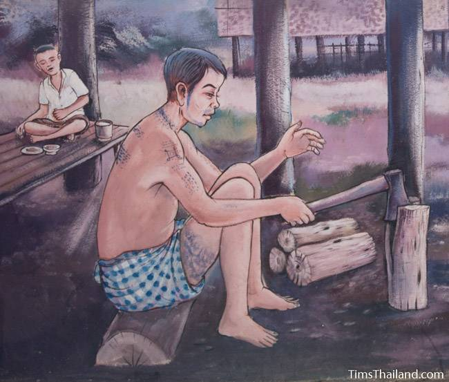 picture of man chopping wood on Wat Pho Nontan meditation hall